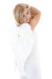 Adolescente en blanco con las alas Fotos de archivo