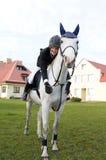 Adolescente en caballo Foto de archivo libre de regalías