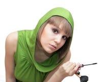 Adolescente en camisa verde Imagen de archivo libre de regalías