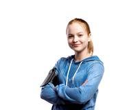 Adolescente en camiseta azul Tiro del estudio, aislado Imágenes de archivo libres de regalías