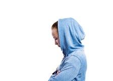 Adolescente en camiseta azul Tiro del estudio, aislado Foto de archivo