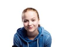 Adolescente en camiseta azul Tiro del estudio, aislado Fotografía de archivo libre de regalías