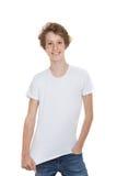 Adolescente en camiseta en blanco Fotografía de archivo libre de regalías