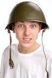 Adolescente en casco Foto de archivo libre de regalías