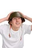 Adolescente en casco Foto de archivo
