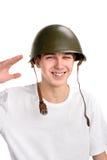 Adolescente en casco Fotos de archivo