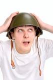 Adolescente en casco Imagen de archivo libre de regalías