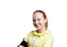 Adolescente en chaqueta corriente amarilla Tiro del estudio, aislado Fotos de archivo libres de regalías
