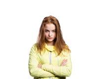 Adolescente en chaqueta corriente amarilla Tiro del estudio, aislado Fotografía de archivo libre de regalías