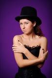 Adolescente en croset negro Fotografía de archivo libre de regalías