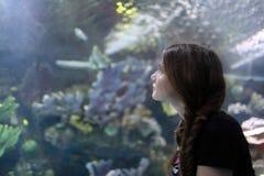 Adolescente en el acuario Fotografía de archivo libre de regalías