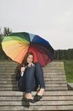 adolescente en el banco Fotografía de archivo libre de regalías