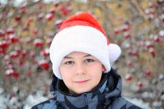 Adolescente en el casquillo Santa Claus en el fondo del Viburnum Fotos de archivo libres de regalías