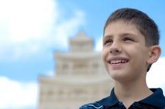 Adolescente en el castillo de la arena Fotografía de archivo