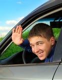 Adolescente en el coche Imagen de archivo