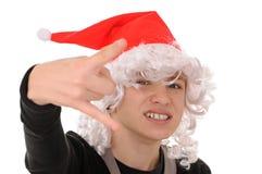 Adolescente en el sombrero santa Fotografía de archivo libre de regalías