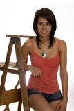 Adolescente en escala Foto de archivo libre de regalías