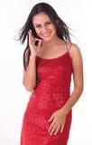 Adolescente en falda roja Fotos de archivo libres de regalías