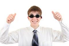 Adolescente en gafas de la natación Imagen de archivo