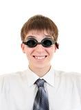 Adolescente en gafas de la natación Fotos de archivo