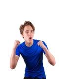Adolescente en la camiseta azul, aislada en el fondo blanco Fotografía de archivo libre de regalías