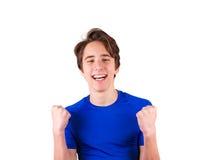 Adolescente en la camiseta azul, aislada en el fondo blanco Foto de archivo libre de regalías