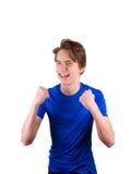 Adolescente en la camiseta azul, aislada en el fondo blanco Fotografía de archivo