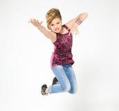Adolescente en la despedida, vestida en estilo de la roca Foto de archivo libre de regalías