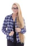 Adolescente en lentes con el pelo largo aislado en blanco Fotografía de archivo