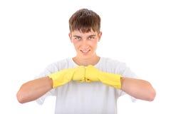 Adolescente en los guantes de goma Imagen de archivo