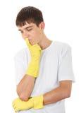 Adolescente en los guantes de goma Imagenes de archivo