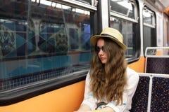 Adolescente en metro Imagen de archivo