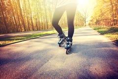Adolescente en pcteres de ruedas en el verano Imagen de archivo libre de regalías