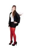 Adolescente en ropa negra y roja Foto de archivo