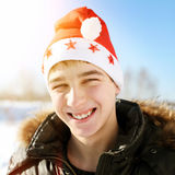Adolescente en Santa Hat Fotos de archivo
