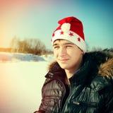 Adolescente en Santa Hat Fotografía de archivo
