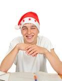 Adolescente en Santa Hat Imágenes de archivo libres de regalías