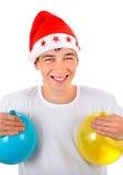 Adolescente en Santa Hat Imagen de archivo libre de regalías