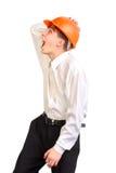 Adolescente en sombrero duro Fotos de archivo