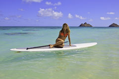 Adolescente en su paddleboard Fotos de archivo libres de regalías