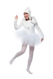 Adolescente en traje del ángel blanco Foto de archivo