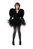 Adolescente en traje del ángel negro Imágenes de archivo libres de regalías