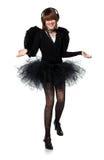 Adolescente en traje del ángel negro Fotografía de archivo
