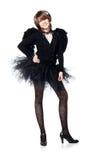 Adolescente en traje del ángel negro Imagen de archivo
