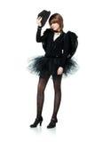 Adolescente en traje del ángel negro Fotos de archivo libres de regalías