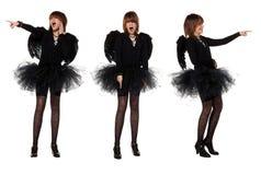 Adolescente en traje del ángel negro Fotos de archivo