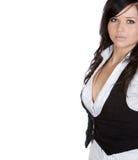 Adolescente en traje del trabajo con Copyspace blanco Fotos de archivo libres de regalías