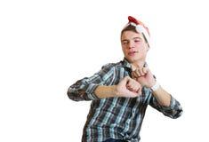 Adolescente en un baile del sombrero de santa Foto de archivo libre de regalías