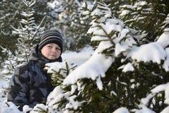 Adolescente en un bosque del pino en invierno Imágenes de archivo libres de regalías