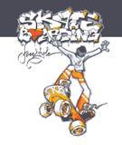 Adolescente en un monopatín en el salto stock de ilustración